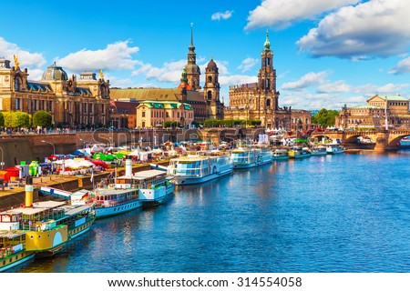 Scenic summer view of the Old Town architecture with Elbe river embankment in Dresden, Saxony, Germany - stock photo