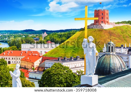 Scenic summer view of the Old Town architecture with Gediminas Tower in Vilnius, Lithuania - stock photo