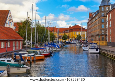 Scenic summer view of the Old Town in Copenhagen, Denmark - stock photo