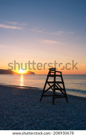 Scenic sunrise on Altea beach, Costa Blanca, Spain