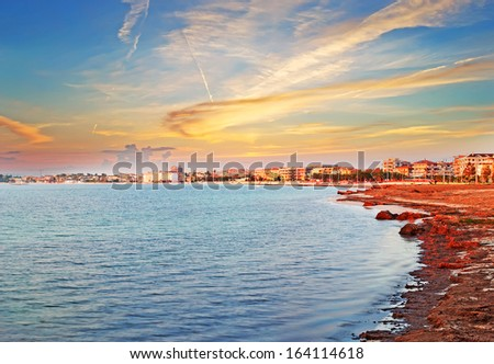scenic sunset in Alghero, Sardinia - stock photo