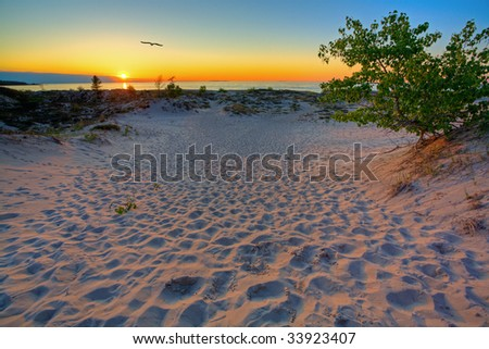 Scenic sunset in the dunes of Northern Michigan - stock photo