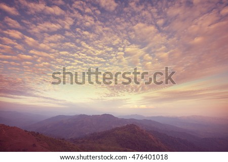 Scenic Sunset in the mountains