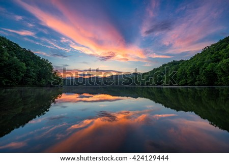 Scenic sunset, mountain lake, Appalachian Mountains of Kentucky - stock photo