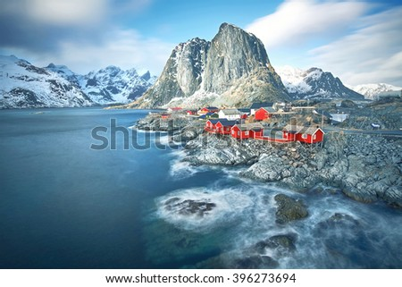 Scenic town of Hamnoy by the fjord on Lofoten islands in Norway