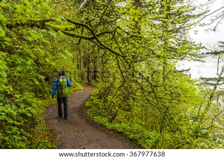 Scenic Trail in Columbia River Gorge, Oregon - stock photo