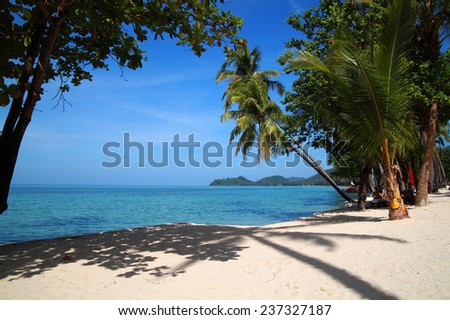 Scenic tropical view with palm-trees, beach and ocean