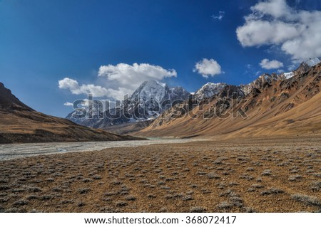 Scenic valley in Pamir mountains in Tajikistan