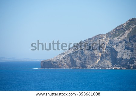 Scenic view along cliff coast of Torndirrup National Park, Albany, Western Australia, wild Southern Ocean, blue sky, copy space. - stock photo