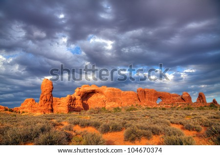Scenic view at Arches National Park, Utah, USA in the evening light