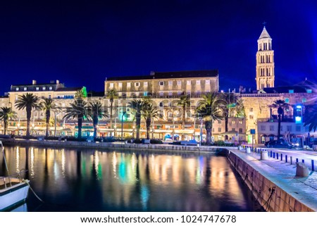 Scenic view at evening time in coastal town Split, famous european summer travel destination in Europe, Croatia. / long exposure.