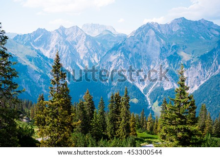 Scenic view at mountains near Wald am Arlberg