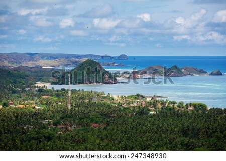 Scenic view at ocean near Indonesia, Lombok island - stock photo