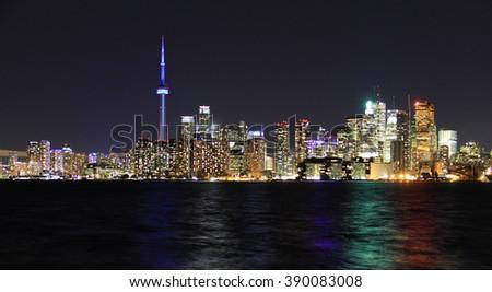 Scenic view at Toronto city waterfront skyline - stock photo
