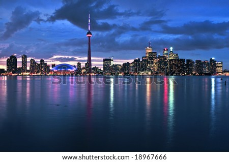 Scenic view at Toronto city waterfront skyline at night - stock photo