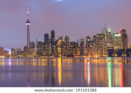 Scenic view at Toronto city waterfront skyline at twilight. - stock photo