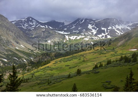 Scenic view from Hoosier Pass, located in the Sawatch mountains approximately 10 miles south of Breckenridge, Colorado