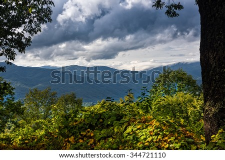 Scenic view from the Blue Ridge Parkway of the Blue Ridge Mountains and the Smoky Mountains in North Carolina - stock photo