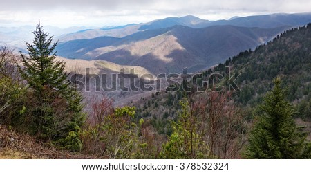 Scenic view from the Blue Ridge Parkway of the Smoky Mountains and the Blue Ridge Mountains. - stock photo