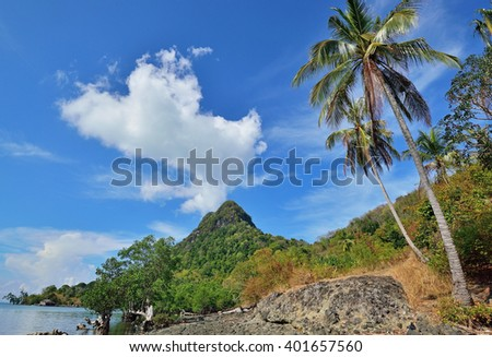 Scenic view in Bohey Dulang view point in Sabah Borneo, Malaysia. - stock photo