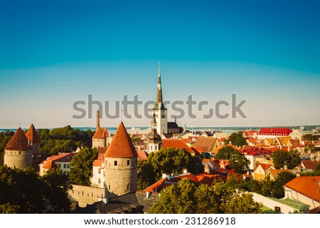 Scenic View Landscape Old City Town Tallinn In Estonia. Toned, Instant Photo - stock photo