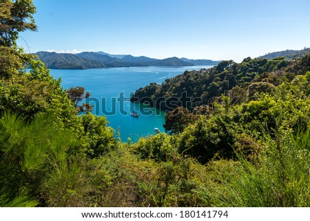 Scenic view North part of South Island, New Zealand - stock photo