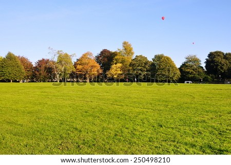 Scenic View of a Beautiful Spacious Green Park - stock photo