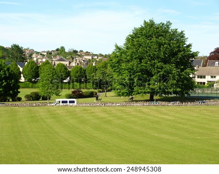 Scenic View of a Beautiful Town Park - stock photo