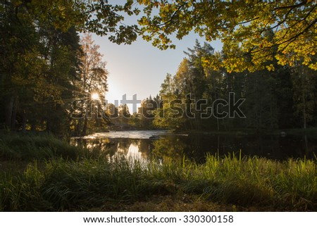 Scenic view of a river landscape in sunrise - stock photo