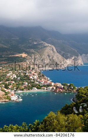 Scenic view of Assos, Kefalonia, Greece