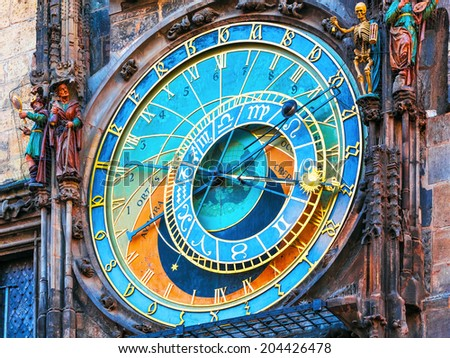 Scenic view of astronomical clock at the City Hall Tower at the Market Square in the Old Town in Prague, Czech Republic - stock photo