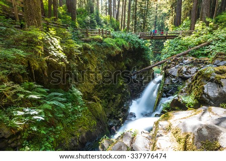 scenic view of beautiful Sol Duc water fall in Olympic national park on summer time,Washington State.USA. - stock photo
