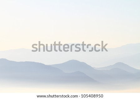 Scenic view of blue ridge mountains - stock photo