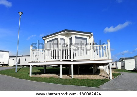 Scenic view of caravan park in summer, Scarborough, England. - stock photo