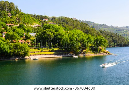 scenic view of Cavado river and Peneda-Geres National Park in northern Portugal. - stock photo