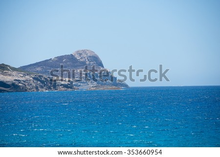 Scenic view of cliff coast of Torndirrup National Park, Albany, Western Australia, wild Southern Ocean, blue sky, copy space. - stock photo