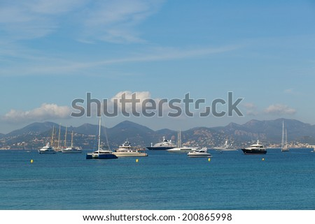 Scenic view of coast in Cannes, France - stock photo