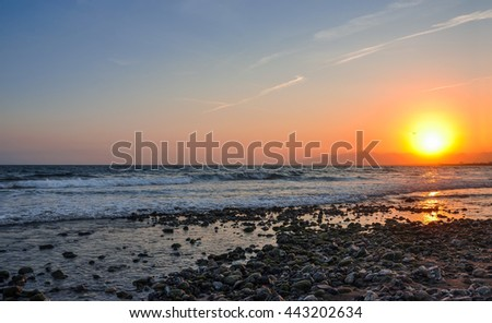 Scenic view of coastline at sunset. Cambrils, Spain. Horizontal.   - stock photo