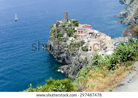 Scenic view of colorful village Vernazza and ocean coast in Cinque Terre, Italy - stock photo