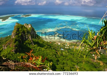 Scenic view of coral reef, Maupiti, French  Polynesia - stock photo