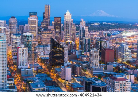 scenic view of down town of  seattle city at night,Seattle,Washington,usa.   for editorial use only.