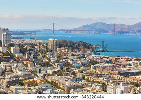 Scenic view of downtown with Golden Gate bridge in San Francisco, California, USA - stock photo
