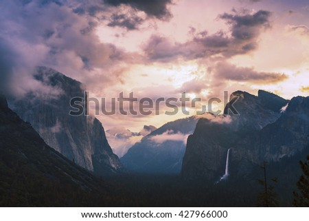 scenic view of El Capital and Cathedral cliff with forest foreground,shoot in tunel view in the morning,spring season,Yosemite National park,California,usa.