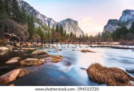 scenic view of El Capital and Cathedral cliff with river foreground,shoot in the morning in spring season,Yosemite National park,California,usa.