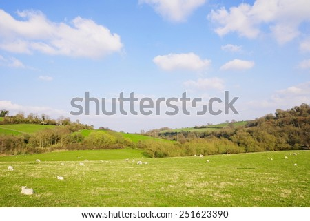 Scenic View of Farmland Fields in Early Spring - stock photo