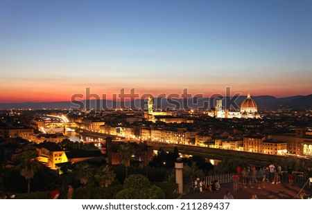 Scenic view of Florence after sunset from Piazzale Michelangelo, Florence, Italy