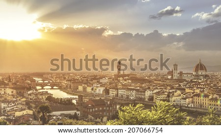Scenic view of Florence at sunset from Piazzale Michelangelo (Tuscany, Italy) - stock photo