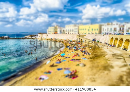 Scenic view of Gallipoli waterfront, Salento, Apulia, Italy. Tilt-shift effect applied - stock photo