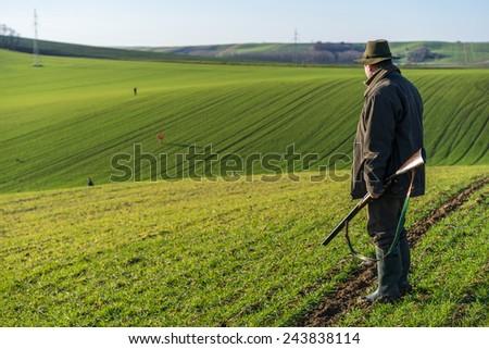 Scenic view of gamekeeper walks over field. - stock photo