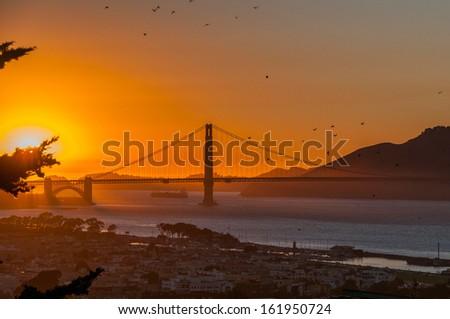 Scenic view of Golden Gate Bridge in sunset, San Francisco, USA. - stock photo